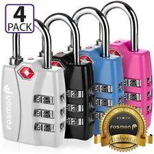 Fosmon 4x TSA Approve [3 Digit Combo Dial] Travel Suitcase Luggage Lock Padlock
