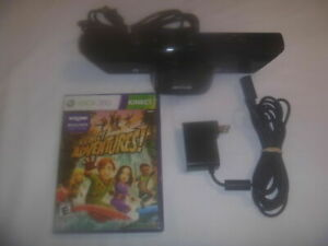 Microsoft Xbox 360 Black Kinect Sensor With Power Supply & Adventures Game