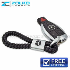 KEYCHAIN KEY CHAIN RING BLACK LEATHER FOR MERCEDES-BENZ EE08 - US SELLER
