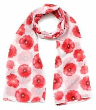 White Poppy Print Ladies Fashion Maxi Scarf Wrap Sarong Soft Warm