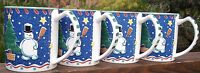 MIKASA  CHRISTMAS  GLOW  SET OF   4   CHRISTMAS  SEASON  MUGS