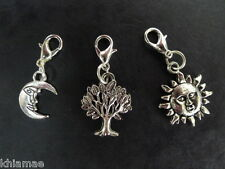 3 x Clip On Wiccan Bracelet Charms sun moon tree pagan wicca silver set charm