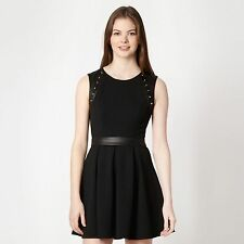 DEBENHAMS Designer black studded PU skater dress