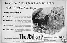 PUBLICITÉ THE AEOLIAN LE DUO-ART ÉLECTRIQUE AVEC LE PIANOLA PIANO