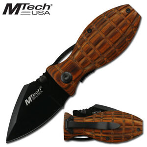 Mtech Grenade Style Knife Wood Frag Grip Folding Stainless Steel Blade