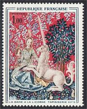 France 1964 Unicorn Tapestry Woman at Tree Stamp #1107 YT 1425 MNH Licorne