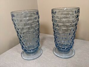 """Vintage Lot of 2 CUBIST BLUE GLASSES Indiana Whitehall Colony Fostoria  6"""" tall"""