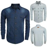 Hommes à manches longues Casual Cool Turn-down col chemise Jean fine TK 01