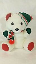 White Holiday Bear with green, red and white scarf and hat