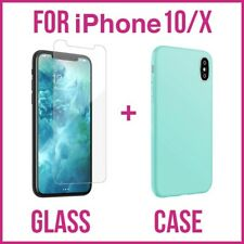 iPhone X/10 Tempered Glass Screen Protector + Silicone Case-5 color . USA Seller