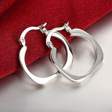 Women Simple Classic Design 925 Silver Plated Flat Square Hoop Hook Earrings