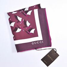 "100% New GUCCI scarf twill silk square shawl Purple Sail Boats 26""x26"" 161192"