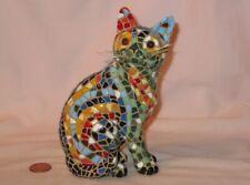"5-1/2""  Tall Ceramic Figure Of Mosaic Barcino Cat"