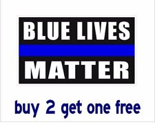 BLUE LIVES MATTER -Bumper Sticker Black Patriot Police - GoGostickers