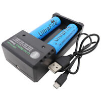 2pcs Battery 18650 5000mAh Li-ion 3.7V Rechargeable For Flashlight + USB Charger