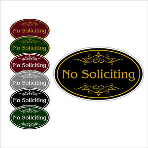 No Soliciting With Choice Of Colors Oval Shaped Wall Notice Aluminum Metal Sign