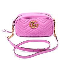 GUCCI Handbag Marmont Mini Matelasse GG Pink Leather