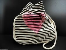Roxy Estilo Shoulder Tote Handbag Fabric Black Stripe Pink Heart New!