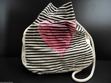 Roxy Handbag Estilo Shoulder Tote Handbag Fabric Black Stripe Pink Heart New!