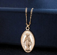 14k Yellow Gold Womens Link Chain Necklace And Rustic Virgin Mary Pendant D628