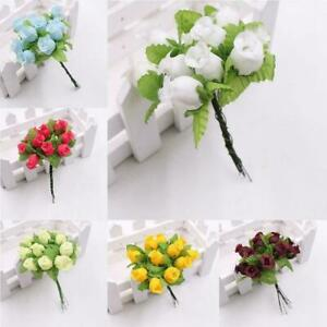 Artificial Flowers 12 Heads Roses DIY Crafts Home Decoration Set Wedding L4X4
