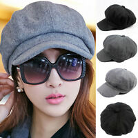 Women Solid Color Wool Gatsby Newsboy Octagonal Hat Cabbie Driver Cap Hats