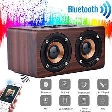 UK Wooden 3D Stereo Bluetooth Dual Speaker Subwoofer FM Radio HiFi Music BROWN