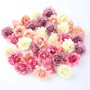 10Pcs Artificial Flower Head Silk Rose DIY Wedding Party Wreath Home Craft Decor