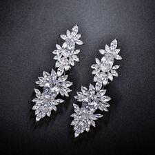 Zirconia Long Clip Drop Dangle Earrings Women Oval CZ Cluster Wedding Jewelry