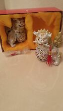 Chinese Antique Feng Shui Foo Dog Silver Gold Guardian Lions Figurine Statue