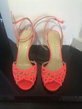 charlotte olympia Ankle Heels Sandals Orange Open Toe Shoe Size 37,5