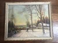 Vintage 9 x 11 Lithograph Framed Print Winter Snowy Scene