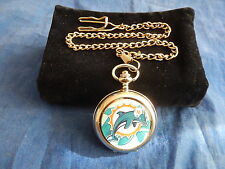 MIAMI DOLPHINS NFL CHROME POCKET WATCH WITH CHAIN (NEW)