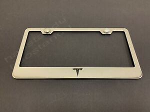 1xTeslaLOGO STAINLESS STEEL LICENSE PLATE FRAME + Screw Caps