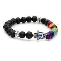 Hamsa Hand Chakra Gemstone Bracelet Lava Stone Crystal Reiki Healing S*