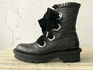 ALEXANDER MCQUEEN Women's Black Combat Boots Shoes Velvet Wide Laces 38.5 used