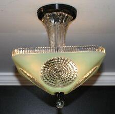 Antique custom jadeite green square semi flush light fixture ceiling chandelier