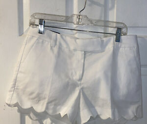 "J. Crew 4"" linen Scalloped shorts  Cotton Linen White Summer Nautical Sz 6 31x4"