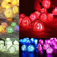 20 LED Rose Flower String Lights Fairy Wedding Christmas Party Garden Decor Vy