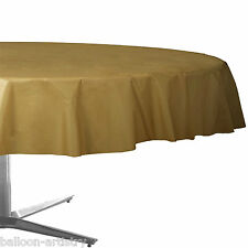 "84"" Gold Round Plastic Tablecover Table Cover Cloth Wedding Catering"
