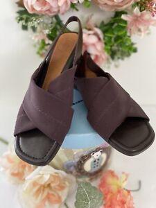 Nurture Women's Shoes Sandals Brown Elastic Leather Peep Toe Block Heel 6.5 M
