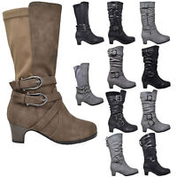 Kids Mid Calf Boots Girls Toddler Youth Kitten Heels w/ Buckle Accents Shoes