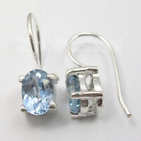 925 Stamp Sterling Silver Faceted Blue Topaz French Wire Earrings