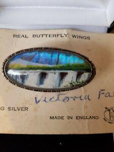 Thomas L Mott sterling silver morphe butterfly wing waterfall brooch