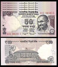INDIA 50 RUPEES 2016 , UNC , 5 PCS CONSECUTIVE LOT , P-104 , GANDHI , Letter R