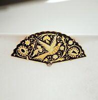 Vintage Damascene Fan Pin-Bird and Floral Design