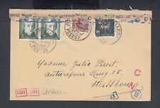 SWITZERLAND 1943 WWII CENSORED COVER PESEUX TO STRASSBOURG FRANCE