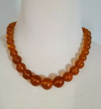 Vintage Baltic Amber Beaded Necklace Orange Butterscotch Articulated   3121