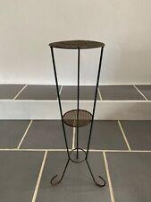 Sellette Metal Perforé / Table Vintage / Fer Forgé Midcentury 48cm