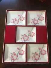 5 VTG Japanese TUTANKA Shippo Yaki Enamel Dishes Cherry Blossoms Original Box